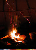 Campfire in a tepee